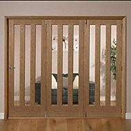 Saxton Vertical 3 panel Oak veneer Glazed Internal Folding Door RH, (H)2035mm (W)2374mm
