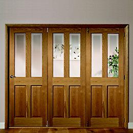 Elveden 4 Panel 2 Lite Oak Veneer Glazed