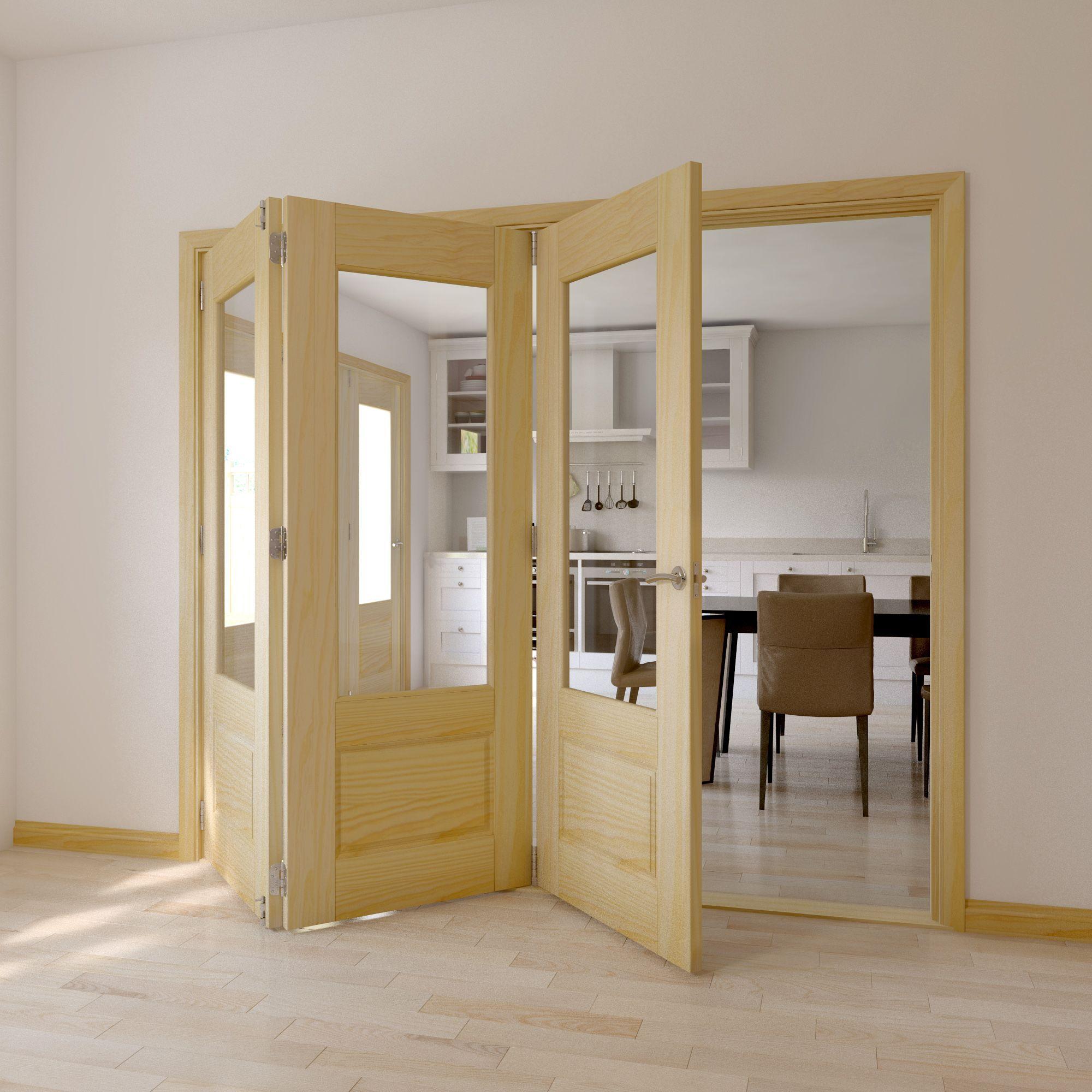 Severn 2 Panel Clear Pine Glazed Internal Folding Door Lh H2035mm