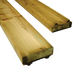 Green Softwood Hand or base rail, (L)2438mm (W)80mm