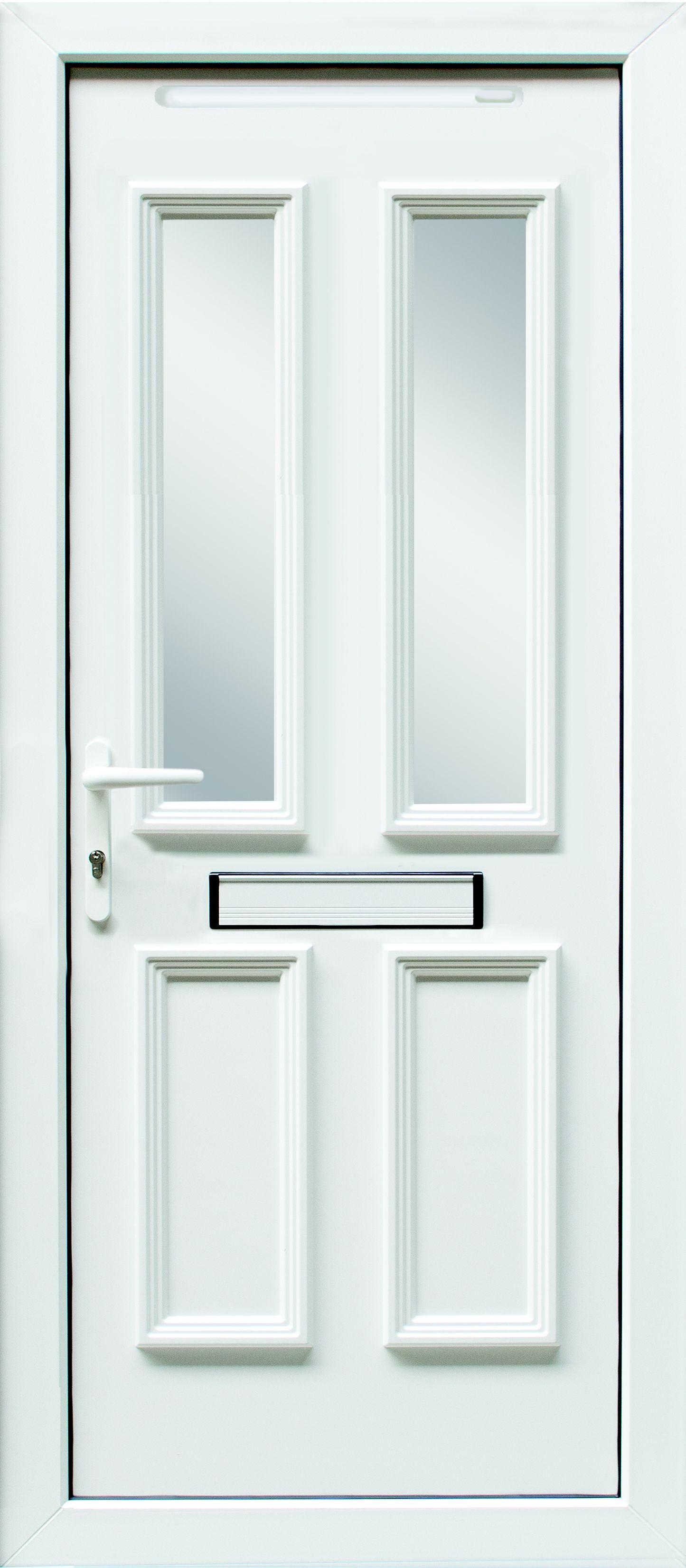 4 Panel PVCu Glazed External Front Door \u0026 Frame Rh (H)2055mm (W)840mm | Departments | DIY at B\u0026Q  sc 1 st  B\u0026Q & 4 Panel PVCu Glazed External Front Door \u0026 Frame Rh (H)2055mm (W ...