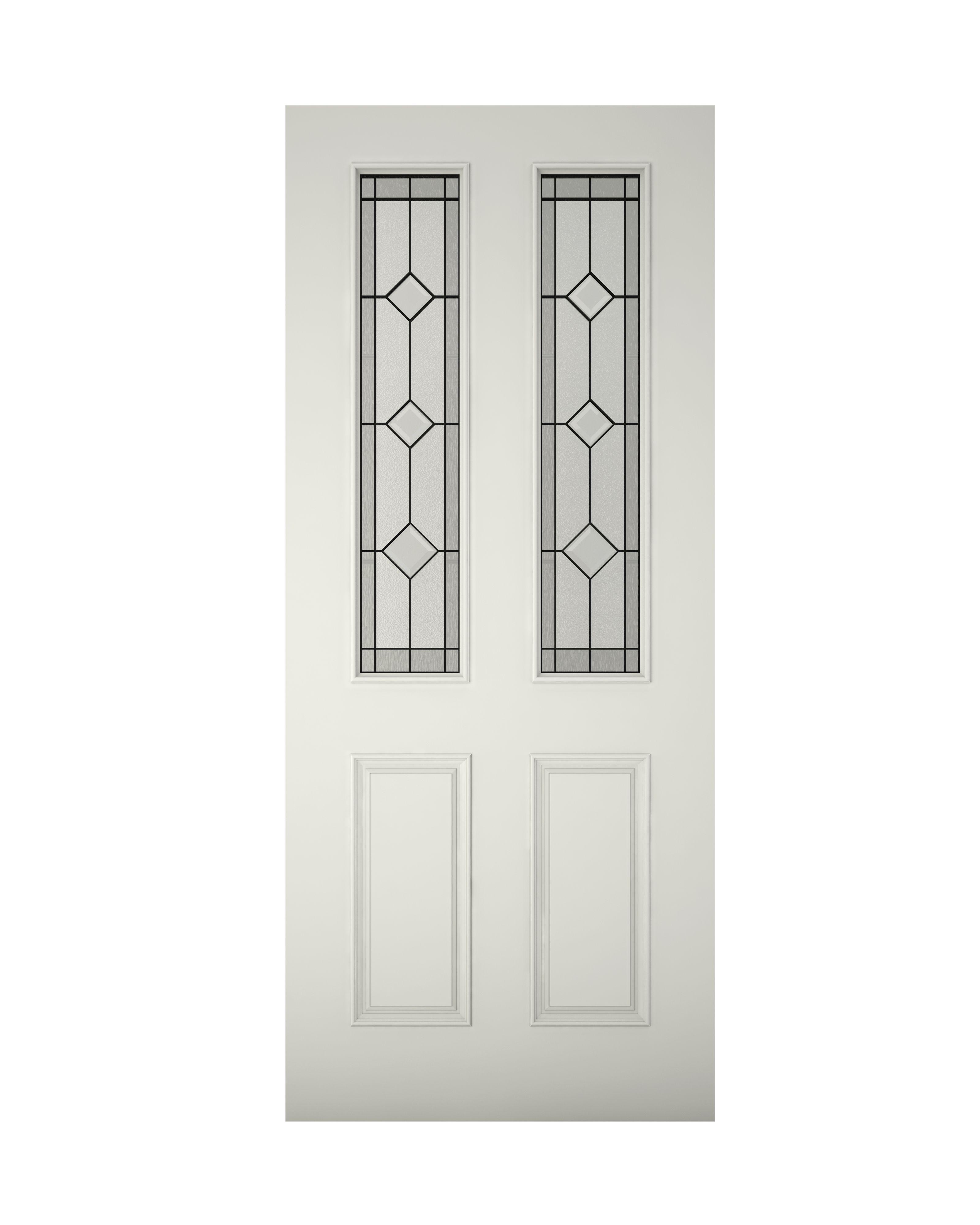 4 Panel Raised Moulding Primed Glazed External Front Door