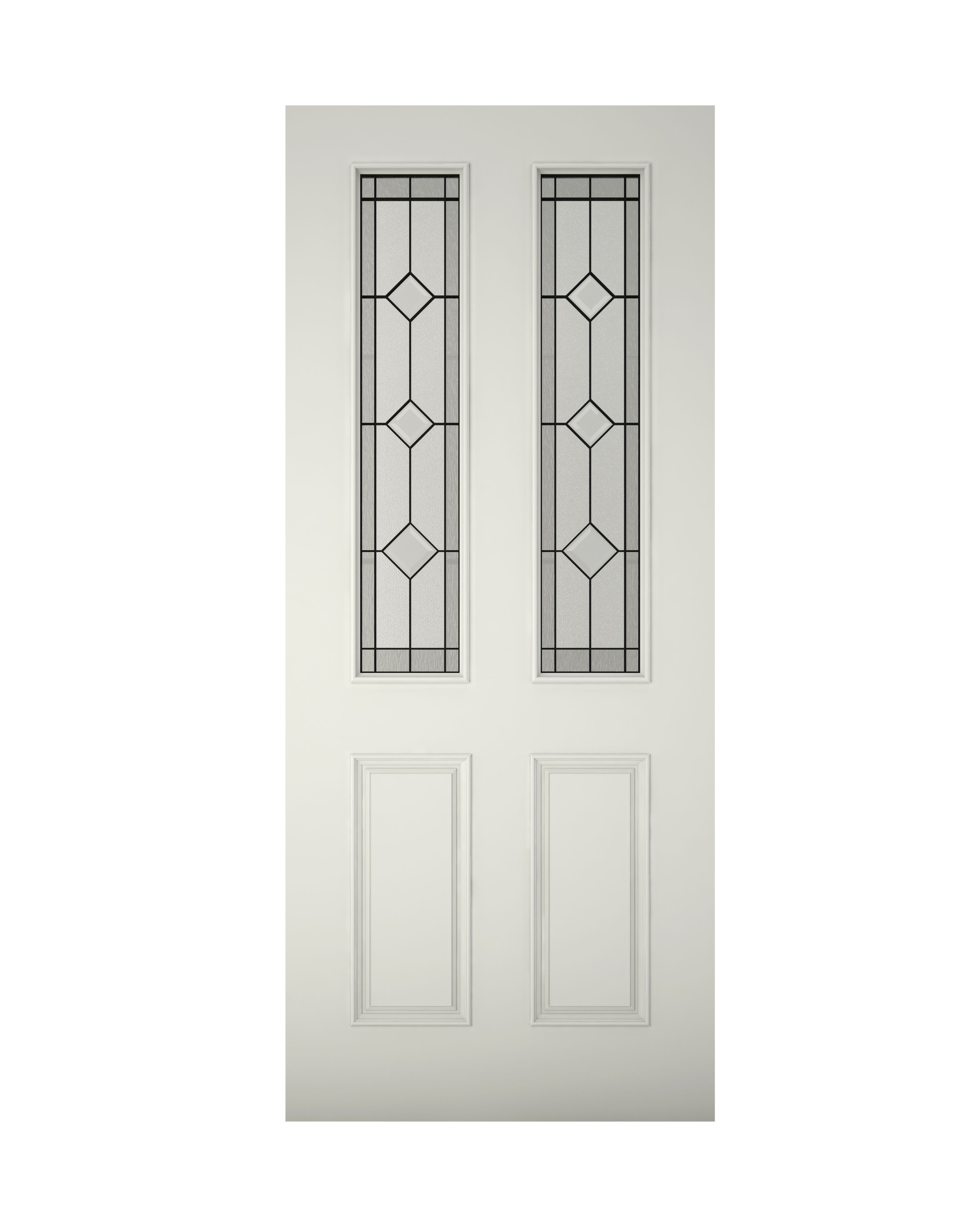 4 Panel Primed Glazed Front Door & Frame With Letter