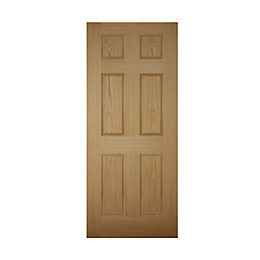 6 Panel White Oak Effect Unglazed Front Door