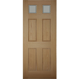 6 Panel White Oak Effect Glazed Front Door