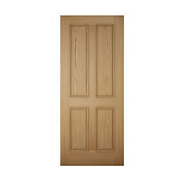 4 Panel White Oak Effect Unglazed Front Door