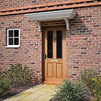 4 panel raised moulding White oak veneer Glazed External Front door & frame with letter plate RH or LH, (H)2125mm (W)907mm