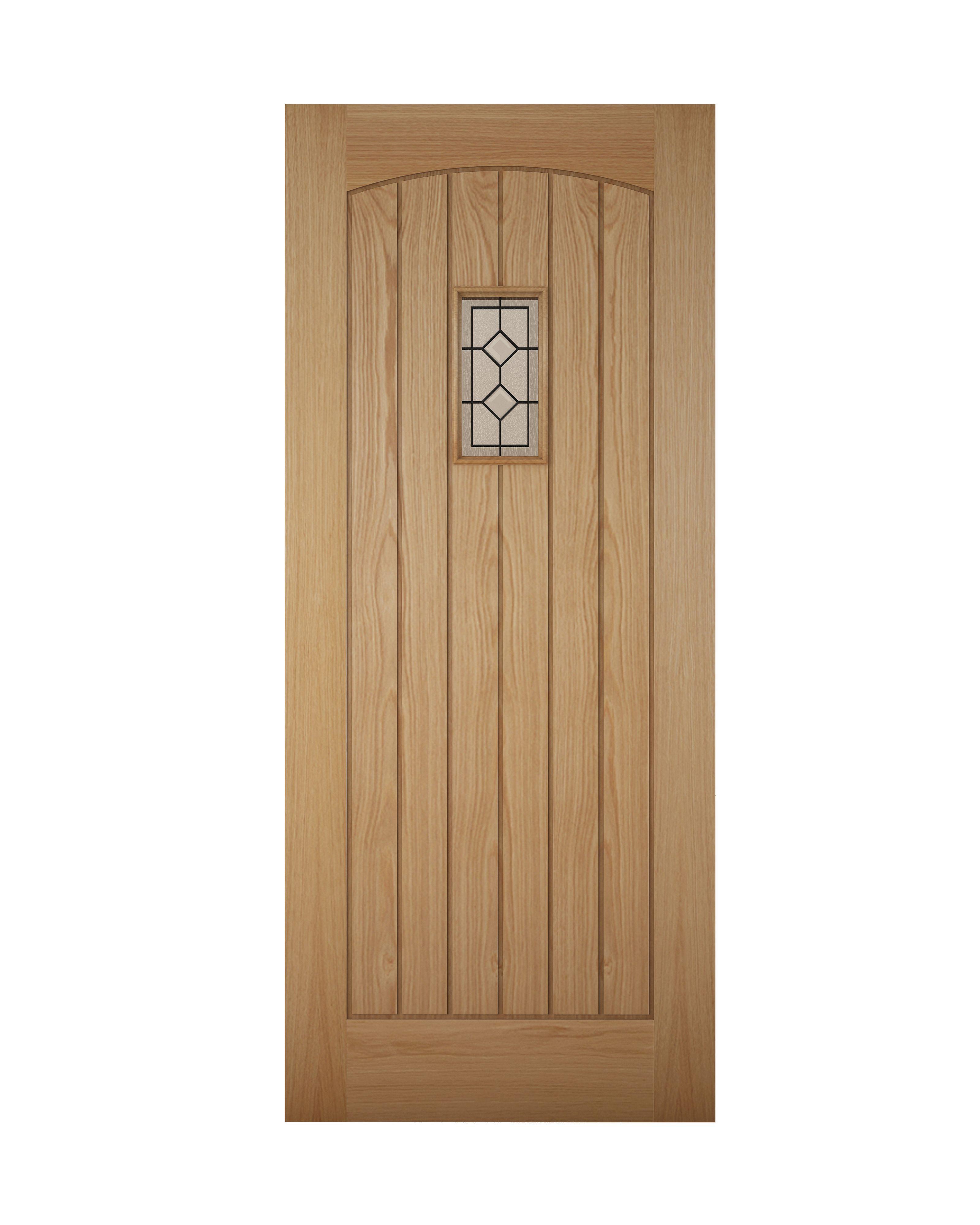 Cottage Panelled White Oak Effect Glazed Front Door ...