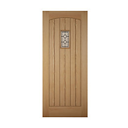Cottage Panelled White Oak Effect Glazed Front Door