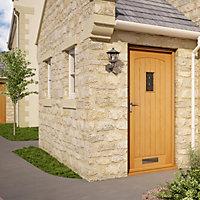 Cottage White oak veneer Glazed External Front door & frame with letter plate RH or LH, (H)2074mm (W)932mm