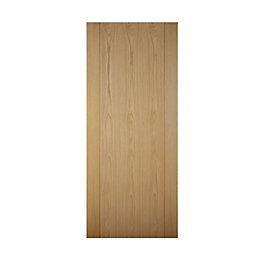 Contemporary Grooved White Oak Effect Unglazed Front Door