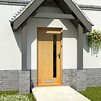 Contemporary White oak veneer Glazed External Front door & frame RH or LH, (H)2125mm (W)907mm