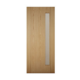 Contemporary Grooved White Oak Effect Glazed Front Door