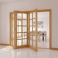 10 Lite Oak veneer Glazed Internal Folding Door, (H)2035mm (W)2374mm