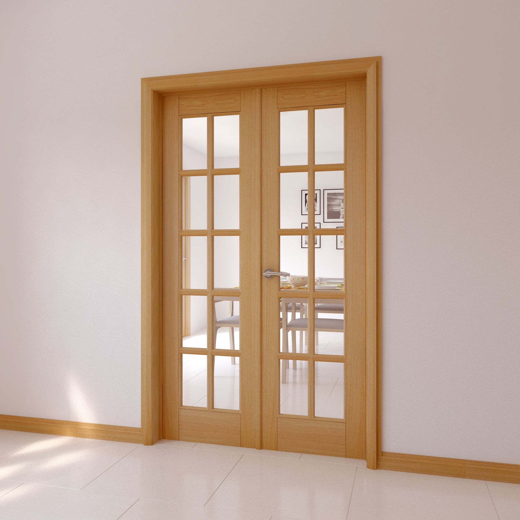 10 Lite Clear Glazed Internal French Door Set H 2030mm