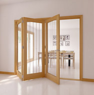 Cottage 1 Lite Oak veneer Natural Smooth Glazed Internal Tri-fold Door LH, (H)2035mm (W)2374mm