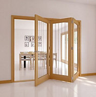 Cottage 1 Lite Oak veneer Natural Smooth Glazed Internal Tri-fold Door RH, (H)2035mm (W)2374mm