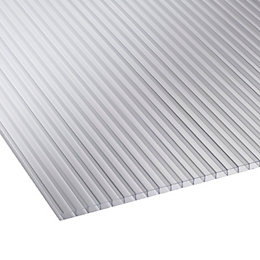 Clear Multiwall Polycarbonate Horticultural Glazing Sheet 1.22M x