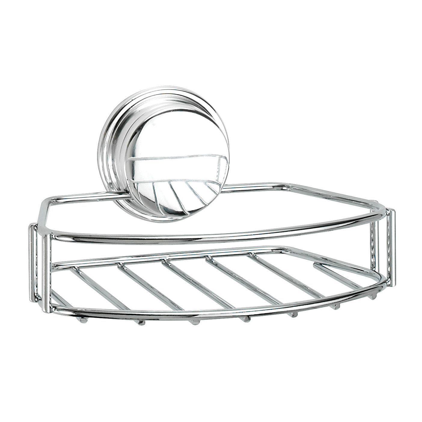 Croydex Stick \'n\' lock Chrome effect Soap basket   Departments   DIY ...
