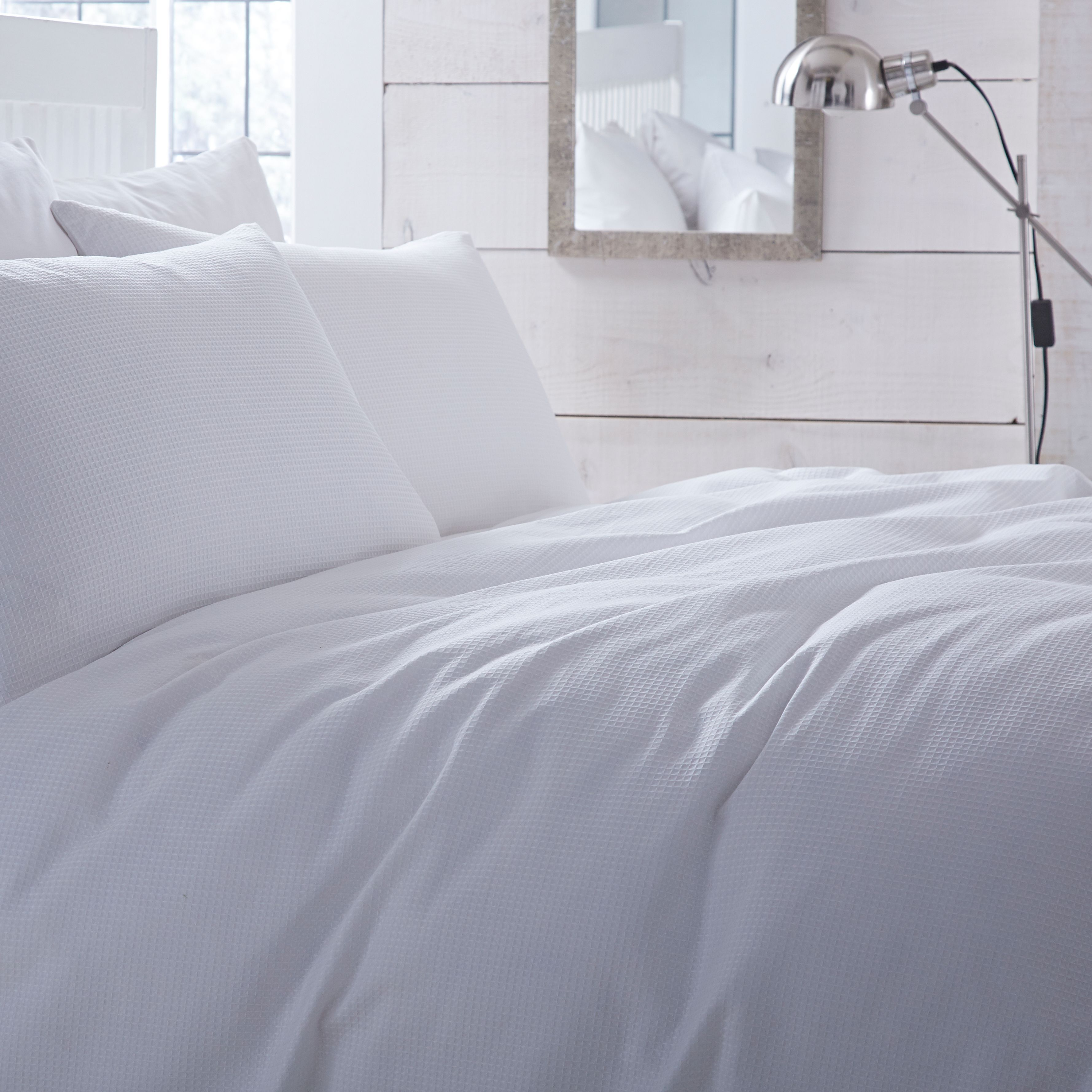 Chartwell Waffle Plain White Double Bed Cover Set