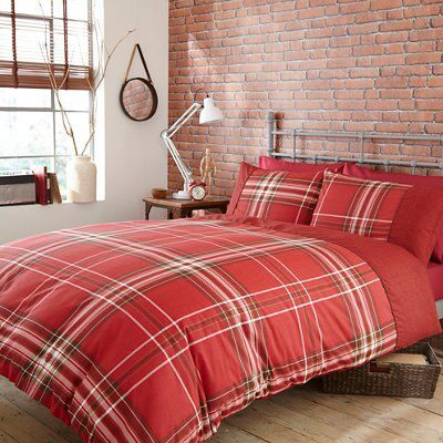 Brooklyn Check Red Double Bed Cover Set