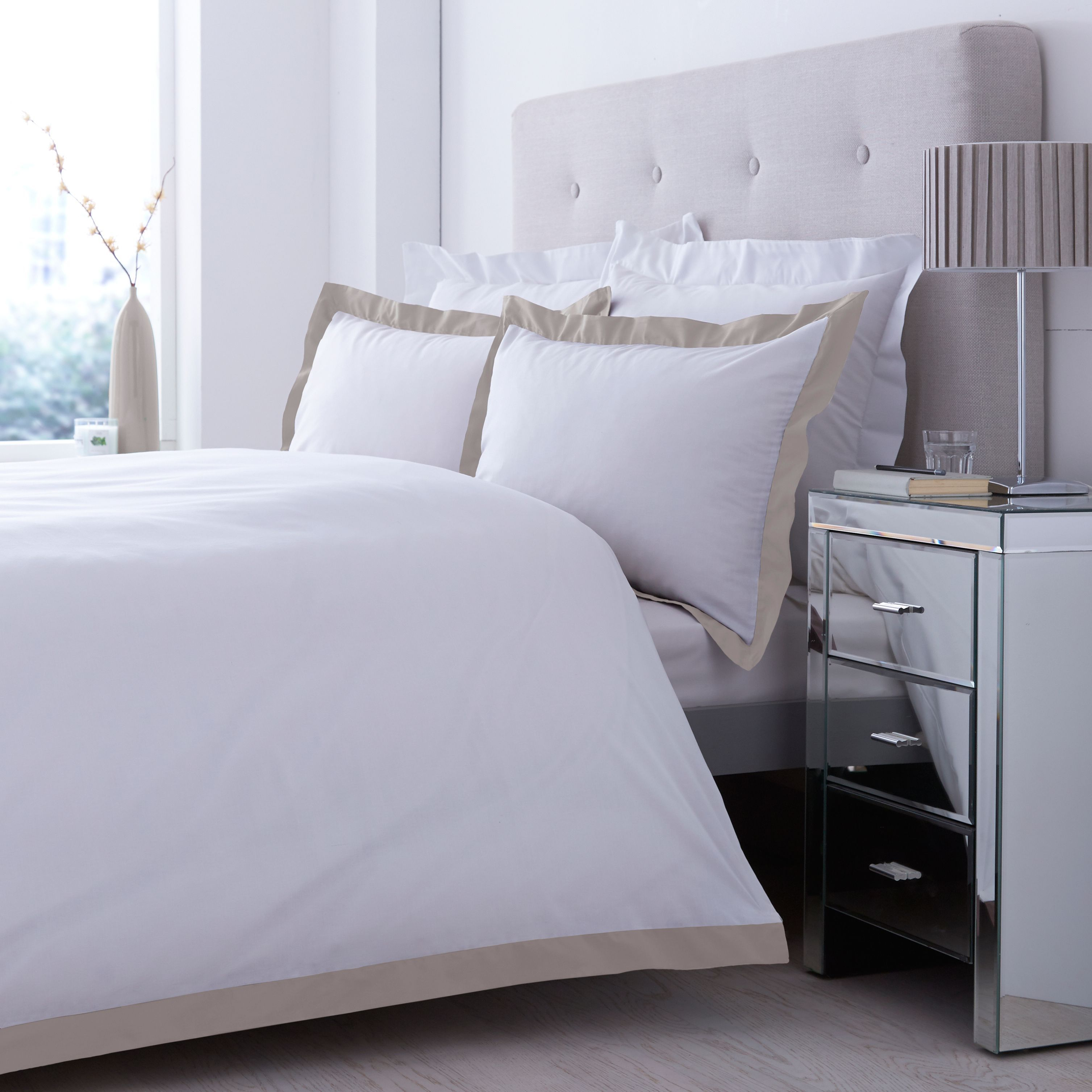 Lexington Taupe & White Double Bed Cover Set