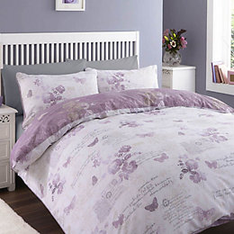 Chartwell Lilian Butterfly Purple Single Bed Cover Set