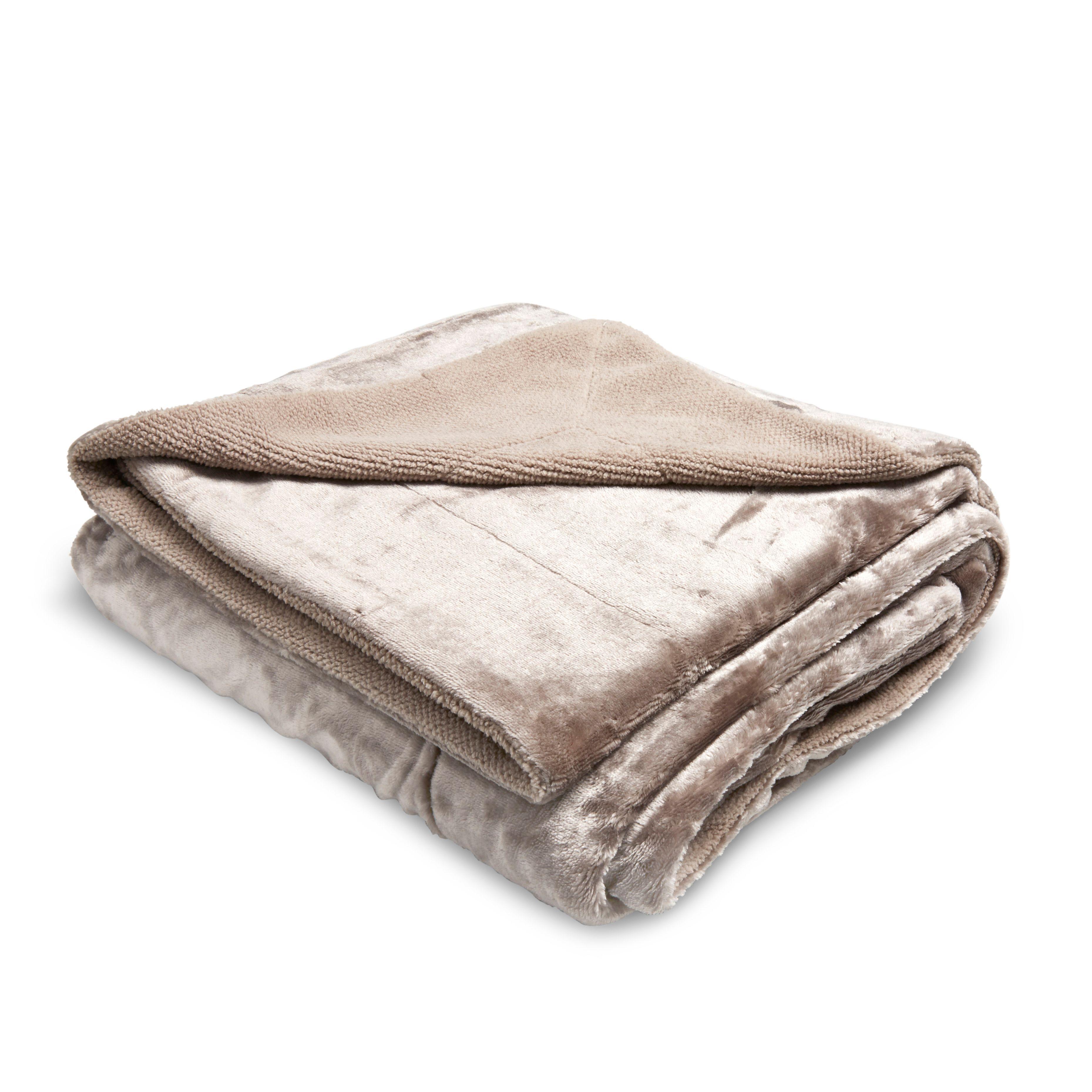 Taupe Honeycomb Fleece Throw Departments Diy At B Amp Q