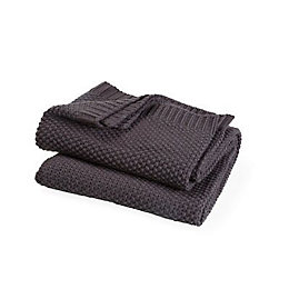 Durran Dark grey Plain Knitted Throw