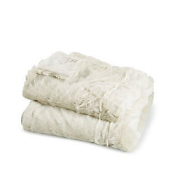 Clarice Cream Plain Faux Fur Throw