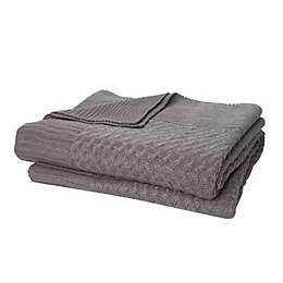 Grey Plain Knitted Throw