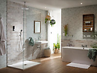 Triton Home Black Thermostatic Mixer shower with Round fixed head diverter, pumped
