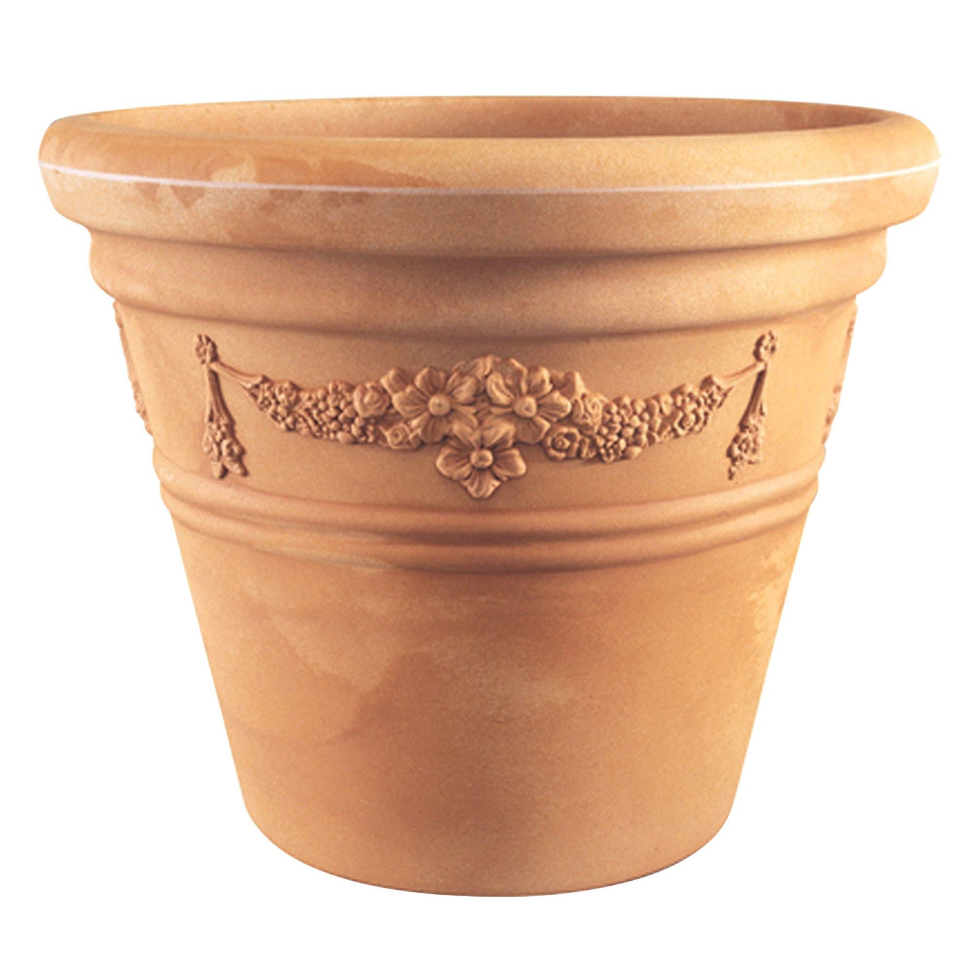 Good Catania Lightweight Round Plastic Terracotta Ceramic Effect Plant Pot  (H)70cm (Dia)43cm   Departments   DIY At Bu0026Q