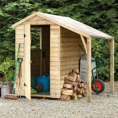 6x4 Larchlap Apex Overlap Wooden Shed With Lean To