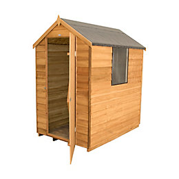 6x4 Forest Apex Overlap Wooden Shed Base included