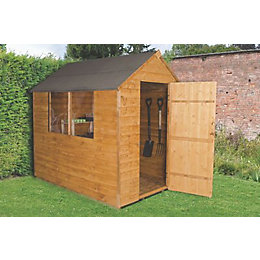 7X5 Forest Apex Overlap Wooden Shed Base Included