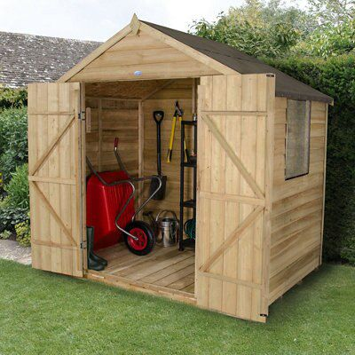 Diy Sheds For Sale: 7X5 Forest Apex Overlap Wooden Shed Base Included