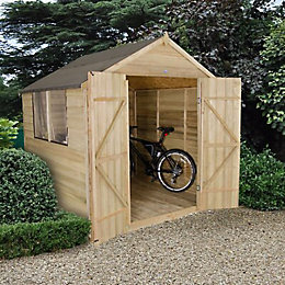 7x7 Forest Apex Overlap Wooden Shed Base included
