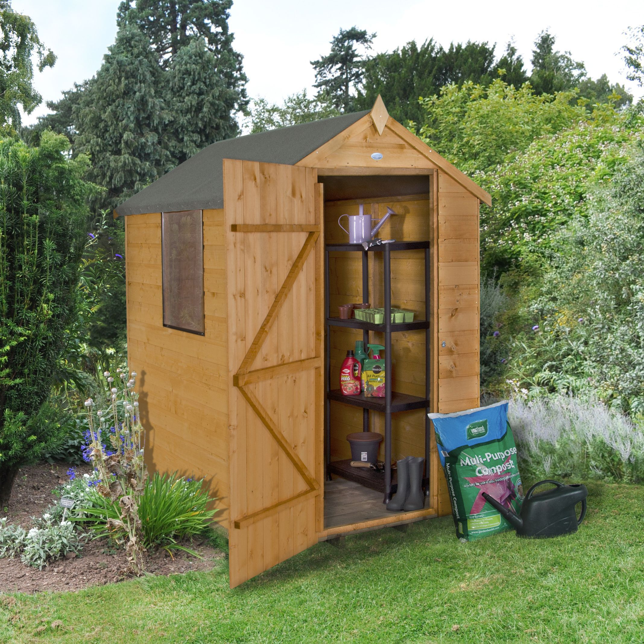 Forest Garden 6x4 Apex Shiplap Wooden Shed Base Included Departments Diy At B Q