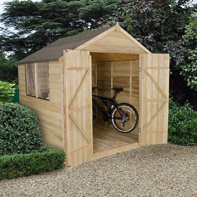 7x7 Forest Apex Overlap Wooden Shed With assembly
