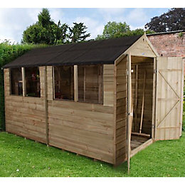 10x6 Forest Apex Overlap Wooden Shed With assembly