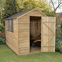 8x6 Forest Apex Overlap Wooden Shed With assembly