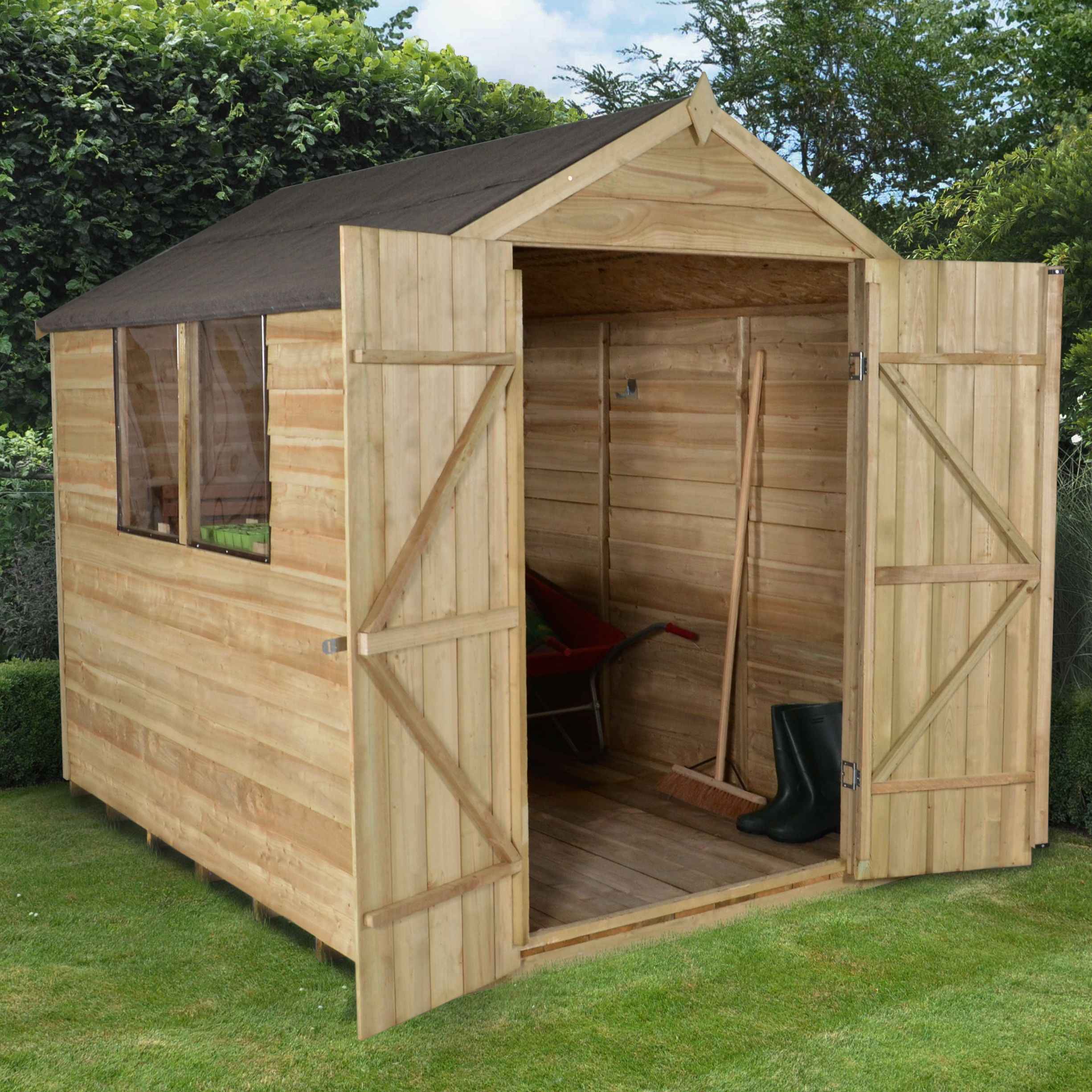 8x6 Forest Apex Roof Overlap Wooden Shed Departments