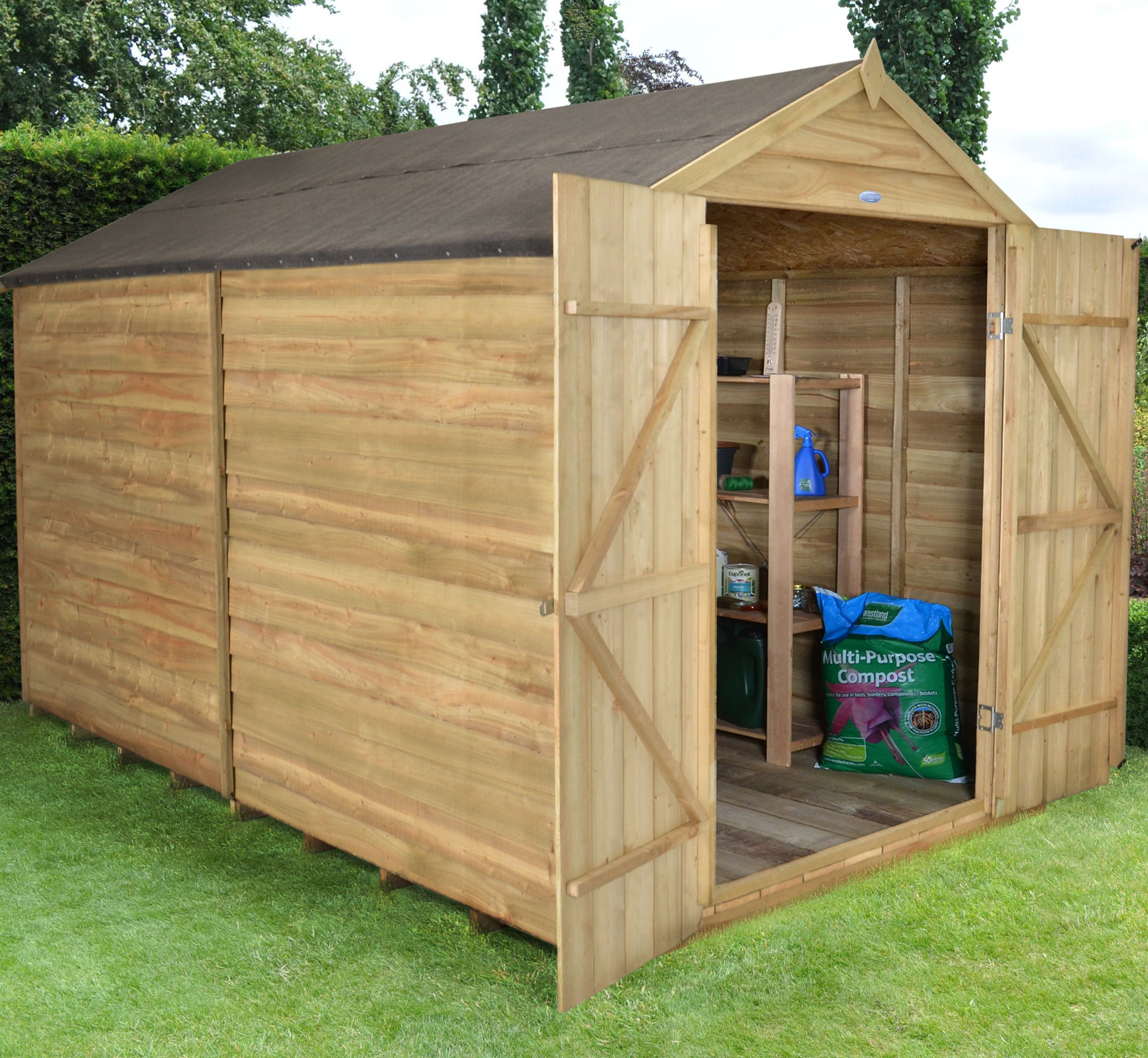 10x8 Forest Apex Overlap Wooden Shed Departments Diy