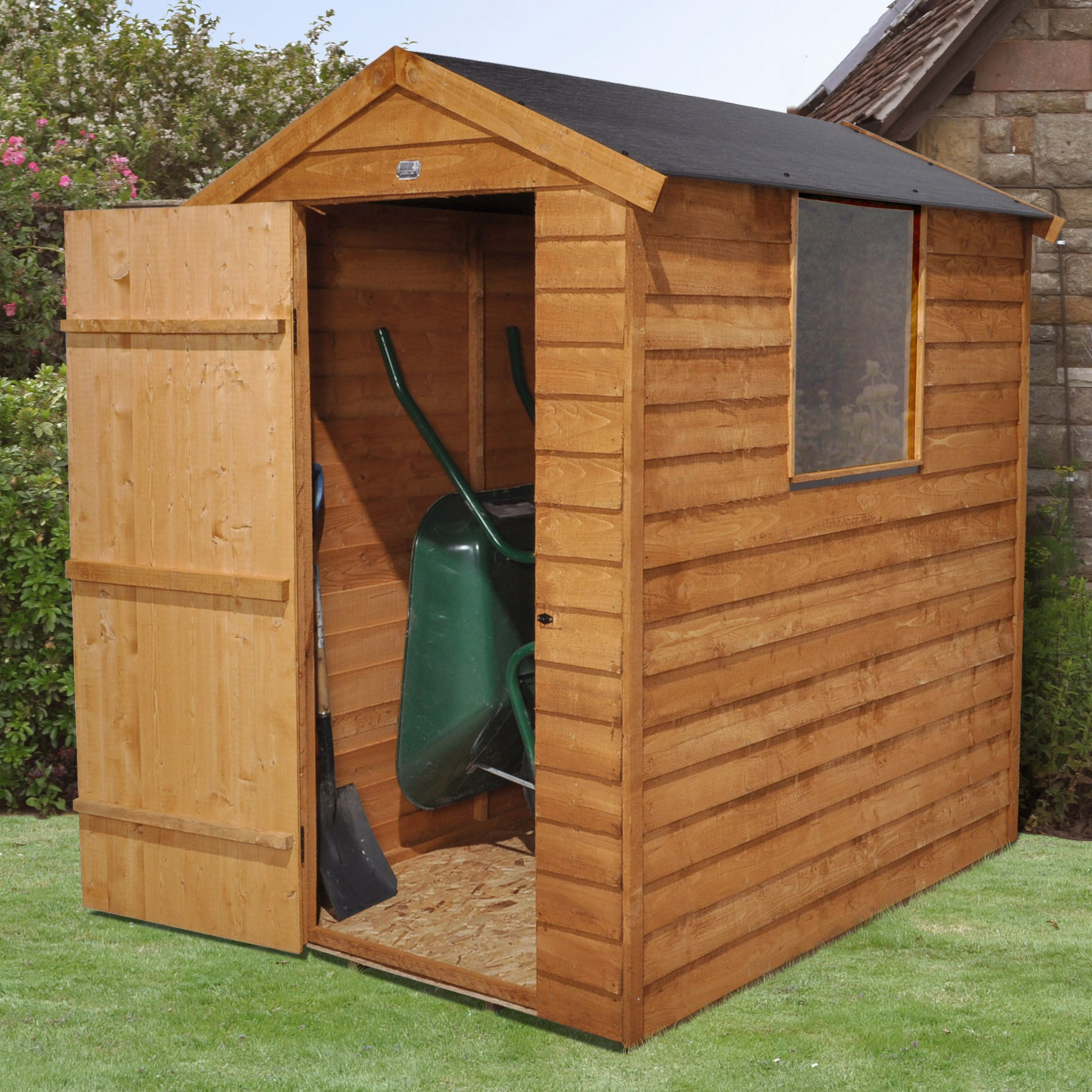 6x4 Apex Overlap Wooden Shed Base Included Departments