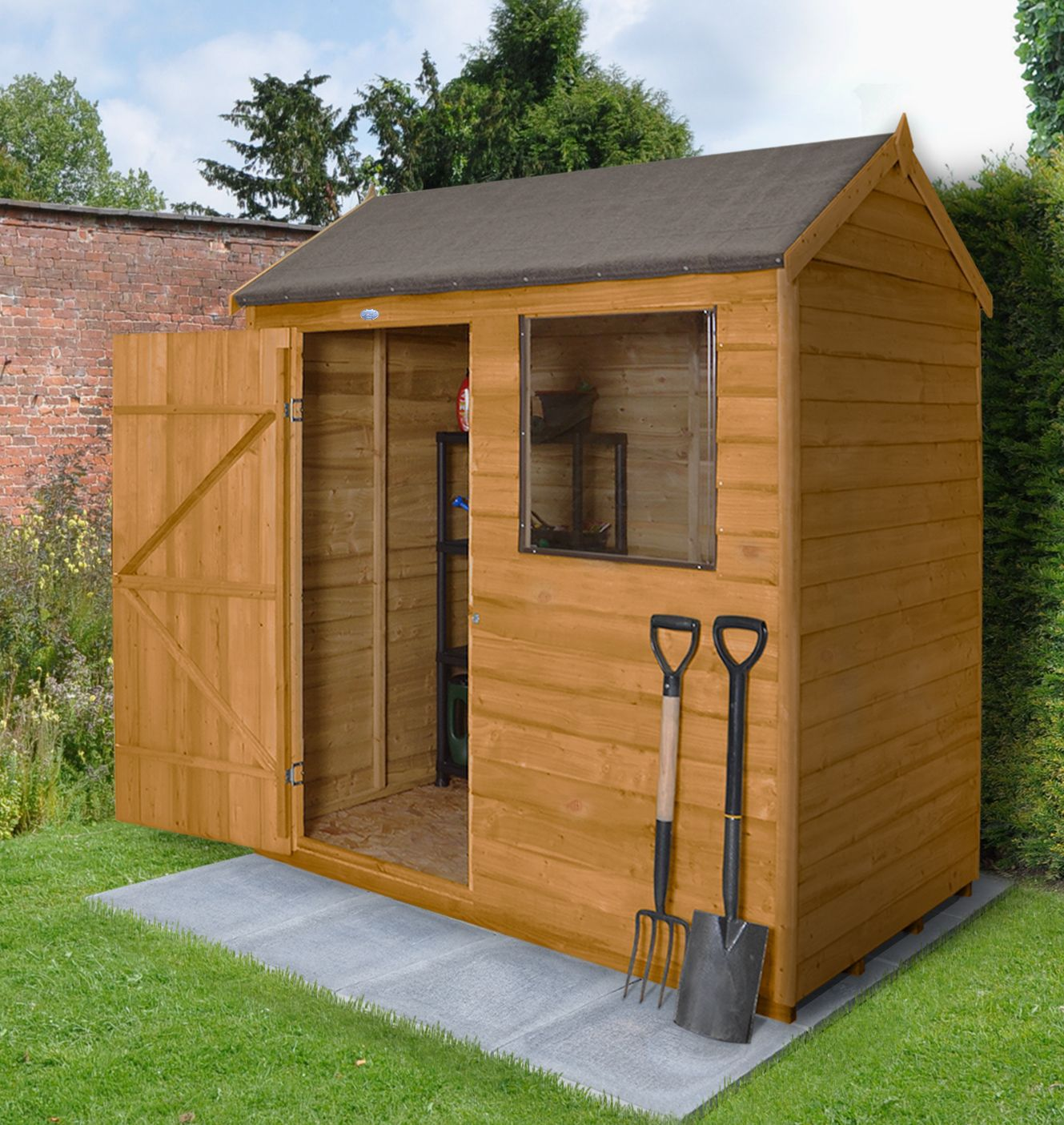 6x4 Forest Reverse apex Overlap Wooden Shed