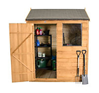 6x4 Reverse apex Overlap Wooden Shed With assembly service Base included