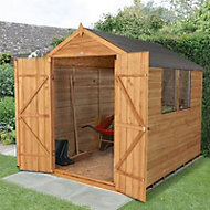 8x6 Forest Apex roof Overlap Wooden Shed With assembly service Base included