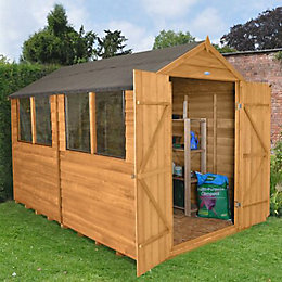 10x8 Forest Apex Overlap Wooden Shed With assembly