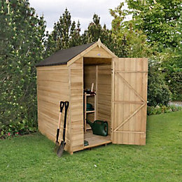 6x4 Forest Apex Overlap Wooden Shed With assembly